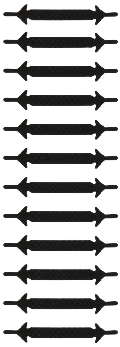 Шнурки силиконовые Hilace Group, цвет: черный, 12 шт2227Оригинальные силиконовые шнурки Hilace Group не оставят вас равнодушными благодаря своему дизайну и практичности. Они изготовлены из качественного термостойкого силикона. Такие шнурки упростят надевание обуви и надежно зафиксируют ее без стягивания стопы, выдержат низкие и высокие температуры, подойдут как взрослым, так и детям.