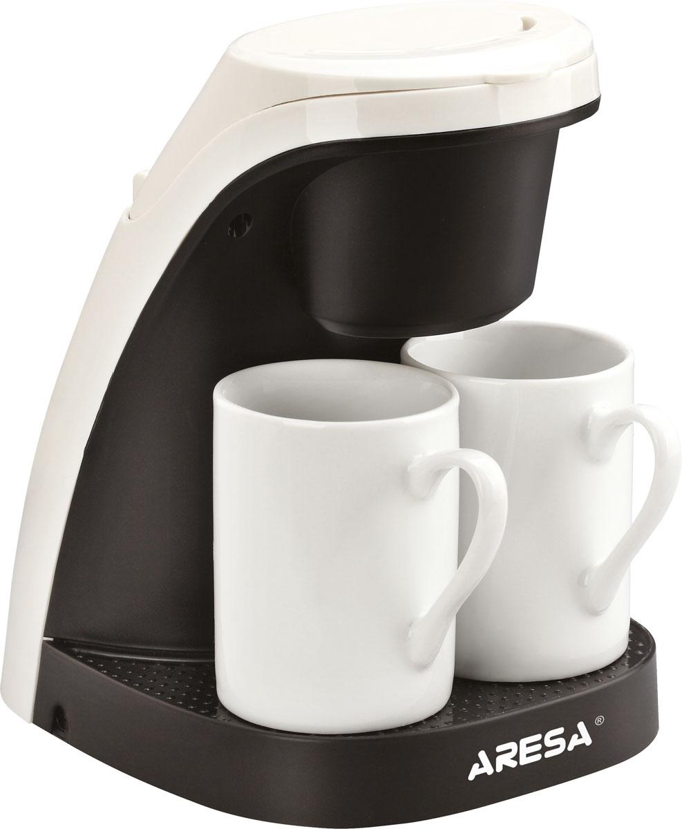 Aresa AR-1602 кофеваркаAR-1602Aresa AR-1602 это компактная и недорогая кофеварка с приятным двухцветным дизайном и основными возможностями приборов этого типа. Данная модель имеет съемную панель для легкой чистки, а также многоразовый фильтр. В комплект также входят две фарфоровые чашки, которые отлично сочетаются с этой кофеваркой.