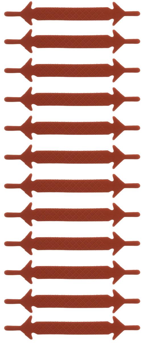 Шнурки силиконовые Hilace Group, цвет: коричневый, 12 шт2364Оригинальные силиконовые шнурки Hilace Group не оставят вас равнодушными благодаря своему яркому дизайну и практичности. Они изготовлены из качественного термостойкого силикона. Такие шнурки упростят надевание обуви и надежно зафиксируют ее без стягивания стопы, выдержат низкие и высокие температуры, подойдут как взрослым, так и детям.