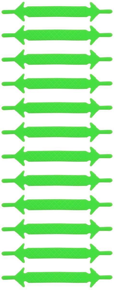 Шнурки флуоресцентные силиконовые Hilace Group, цвет: зеленый, 12 шт2326Оригинальные флуоресцентные силиконовые шнурки Hilace Group не оставят вас равнодушными благодаря своему яркому дизайну и практичности. Они изготовлены из качественного термостойкого силикона. Также они обладают флуоресцентными свойствами и светятся в темноте. Такие шнурки упростят надевание обуви и надежно зафиксируют ее без стягивания стопы, выдержат низкие и высокие температуры, подойдут как взрослым, так и детям.