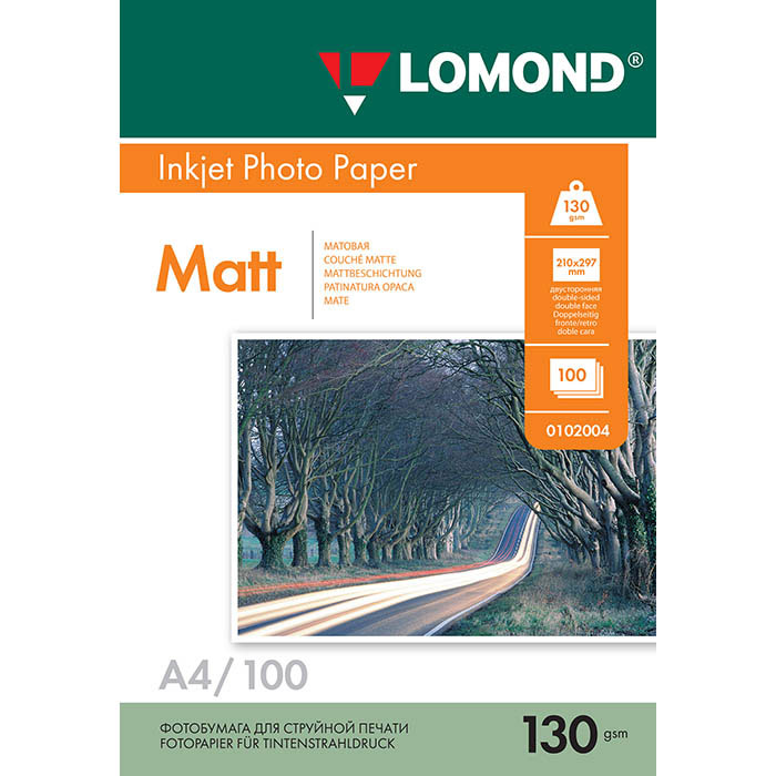 Lomond Photo 130/A4/100л бумага матовая двухсторонняя0102004Основа: RC (Resin Coated)Тип покрытия: Ink Jet Coated