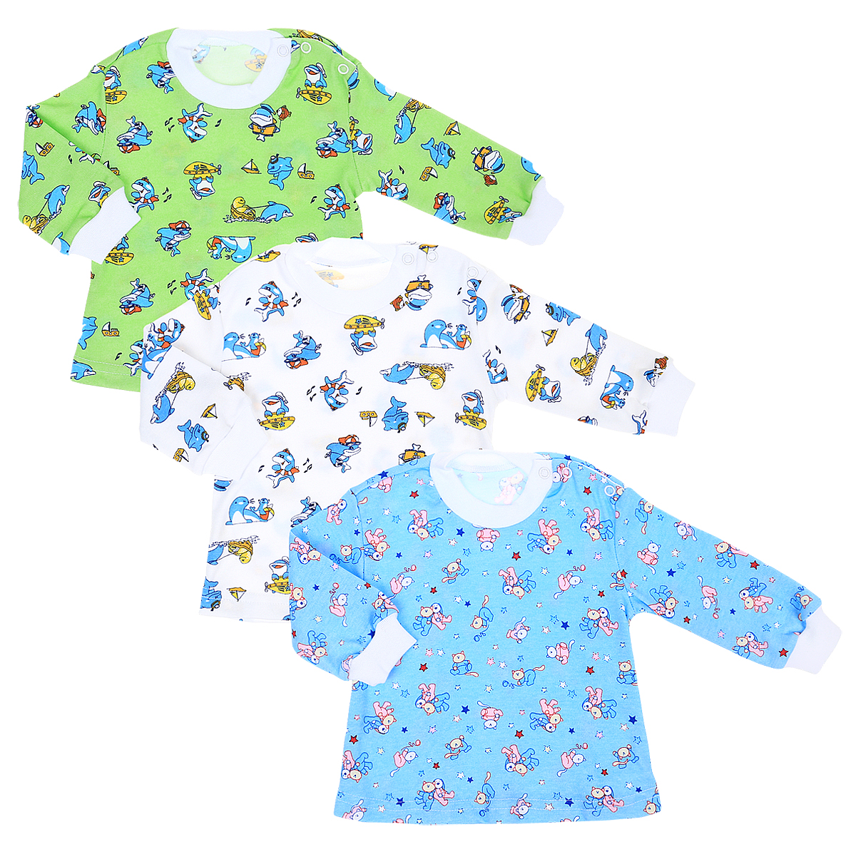 Комплект футболок для мальчика Фреш Стайл, цвет: мультиколор. 33-232м. Размер 6233-232мФутболка с длинными рукавами Фреш Стайл послужит идеальным дополнением к гардеробу малыша.Футболка изготовлена из натурального хлопка, благодаря чему она необычайно мягкая и легкая, не раздражает нежную кожу ребенка и хорошо вентилируется, а эластичные швы приятны телу малыша и не препятствуют его движениям. Футболка имеет удобные запахи на плечах, которые позволяют без труда переодеть ребенка. Оформлена модель оригинальным рисунком с изображением забавных животных.В такой футболке ваш ребенок всегда будет в центре внимания!