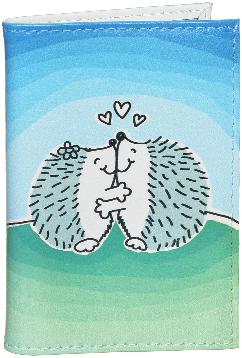 Визитница Mitya Veselkov Влюбленные ежики, цвет: голубой, белый, зеленый. VIZIT279