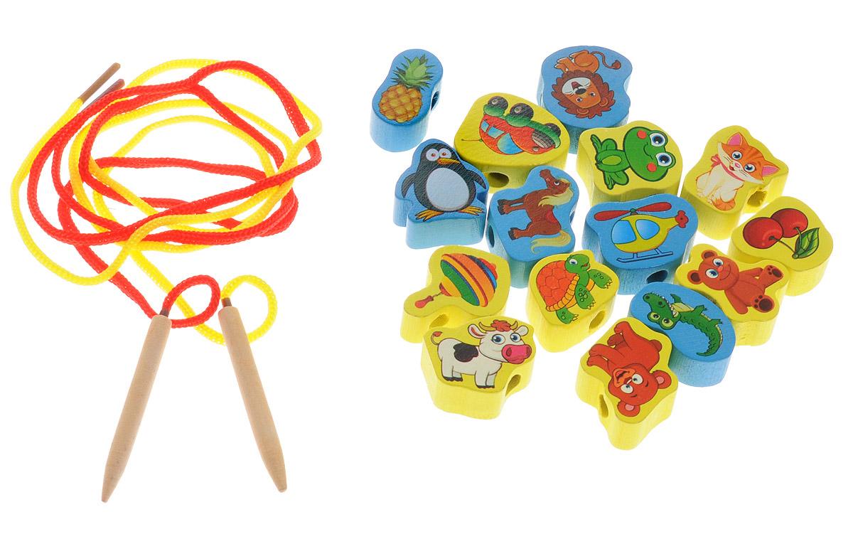 Развивающие деревянные игрушки Шнуровка Ассорти 16 элементов развивающие игрушки росигрушка набор клепа пирамида фигуры 16 деталей