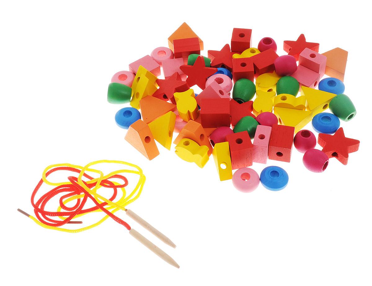 Развивающие деревянные игрушки Шнуровка Геометрические формы 60 элементов