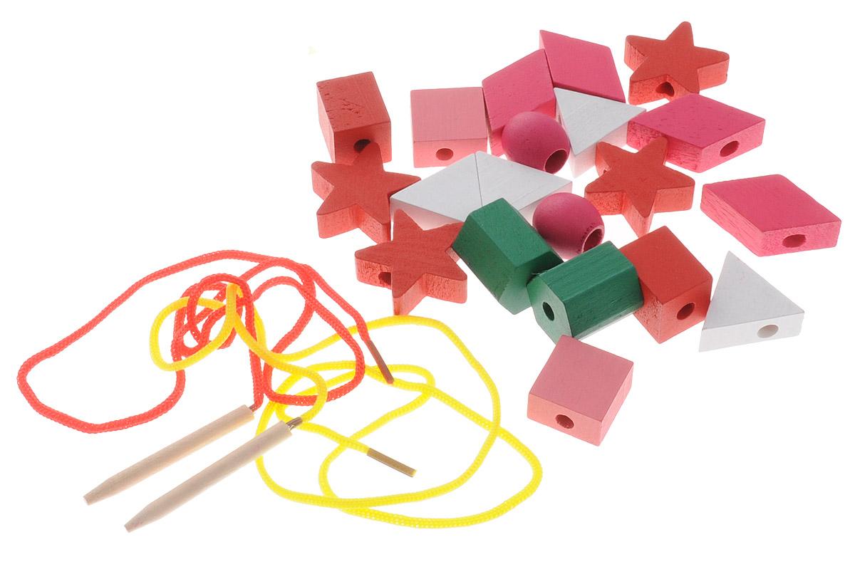 Развивающие деревянные игрушки Шнуровка Геометрические формы 20 элементов