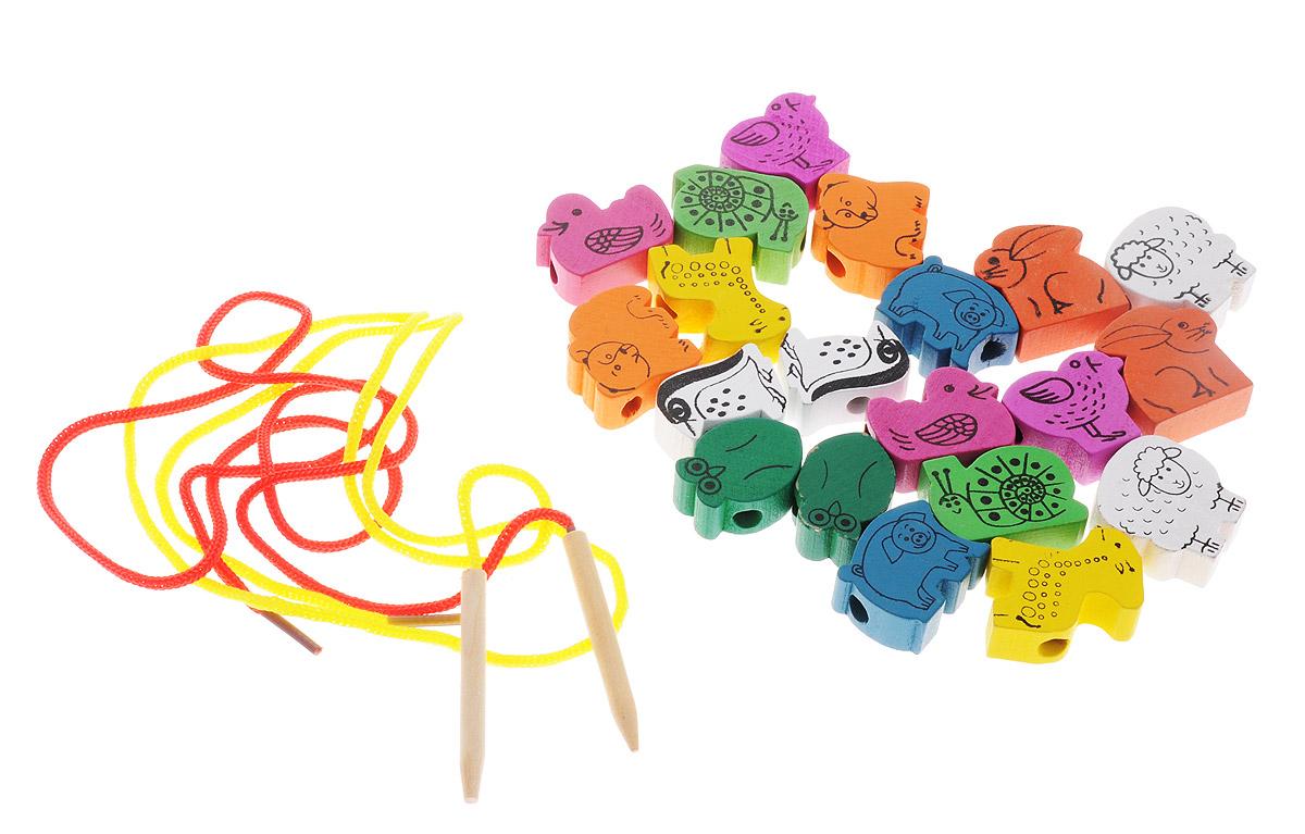 Развивающие деревянные игрушки Шнуровка Животные 20 элементов развивающие игрушки росигрушка набор клепа пирамида фигуры 16 деталей