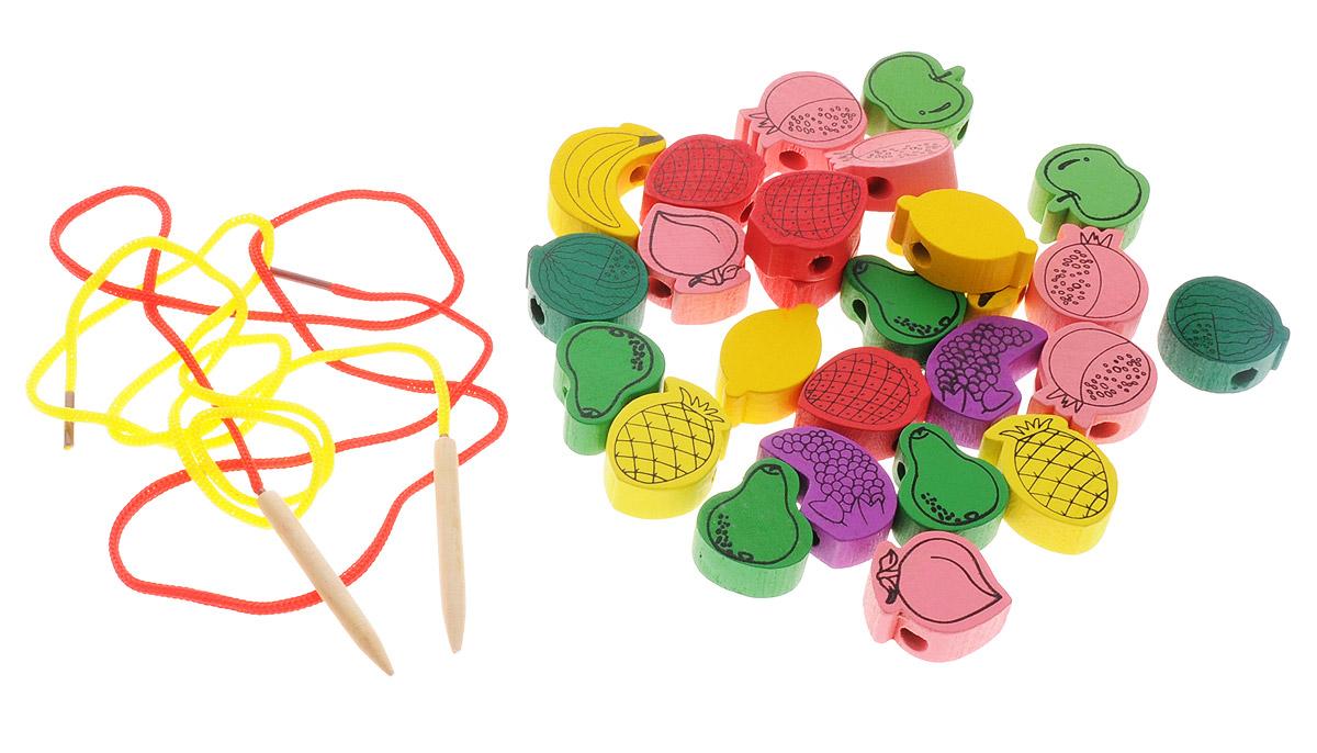 Развивающие деревянные игрушки Шнуровка Фрукты 20 элементов развивающие деревянные игрушки пазл для малышей теремок 4 в 1