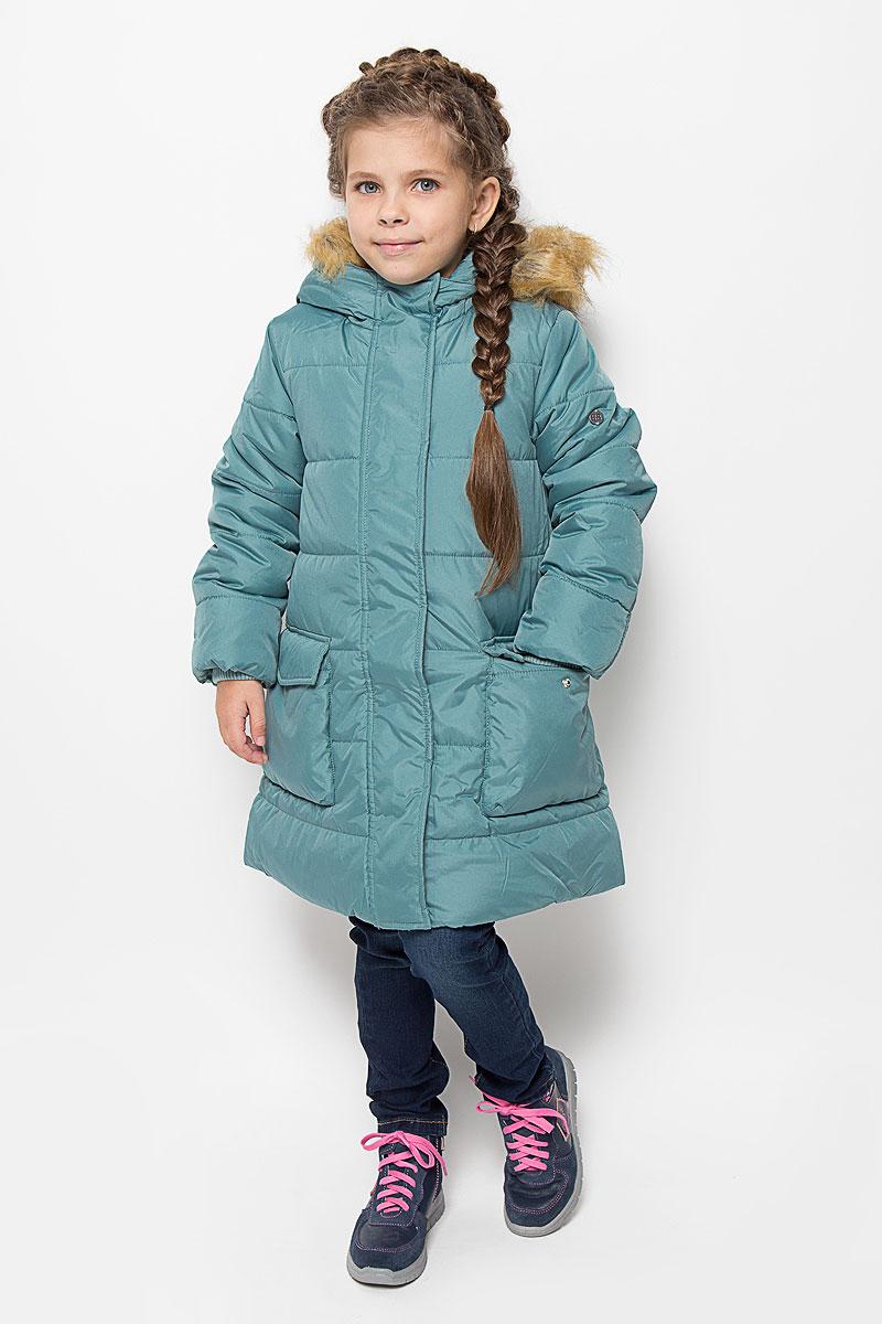 Пальто для девочки Button Blue, цвет: бирюзовый. 216BBGC45021300. Размер 98, 3 года шапка button blue button blue bu019cgwue64