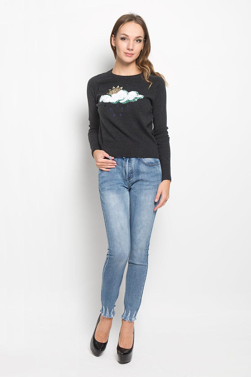 Джемпер женский Glamorous, цвет: черно-серый. HS0104. Размер S (44)HS0104_BLACKОригинальный женский джемпер Glamorous, выполненный натурального хлопка, необычайно мягкий и приятный на ощупь, не сковывает движения, обеспечивая наибольший комфорт. Джемпер с круглым вырезом горловины и рукавами-реглан украшен аппликацией из пайеток. В этой модели отлично сочетаются уют повседневной вещи и изящная отделка. Это изделие станет превосходным дополнением к вашему гардеробу.