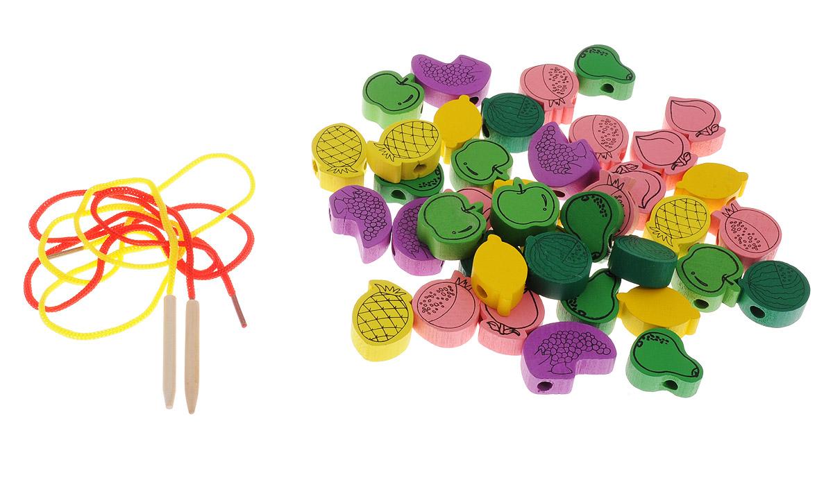 Развивающие деревянные игрушки Шнуровка Фрукты 40 элементов