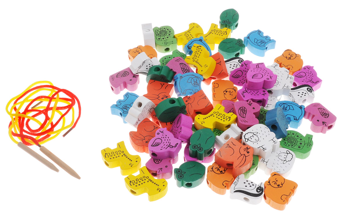 Развивающие деревянные игрушки Шнуровка Животные 60 элементов развивающие игрушки росигрушка набор клепа пирамида фигуры 16 деталей