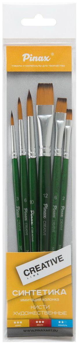 Pinax Набор кистей синтетических Creative Line 6 шт короткая ручка239996Кисти из набора Pinax Creative line синтетика 6 шт. идеально подойдут для художественных и декоративно-оформительских работ. В набор входят круглые кисти №3, №6, №10, плоские №2, №6, №12. Кисти предназначены для работы с акрилом, маслом, акварелью, гуашью, темперой и лаком. Кисти изготовлены из высококачественного синтетического волокна. Щетинки конусообразной формы имитируют натуральный волос средней жесткости. Такие кисти подходят для создания четких линий, заливки фона, а также декоративных работ - лессировок, покрытия лаком, использования паст и других работ. Деревянные короткие ручки кистей покрыты полупрозрачным цветным лаком, втулки алюминиевые с двойной обжимкой.