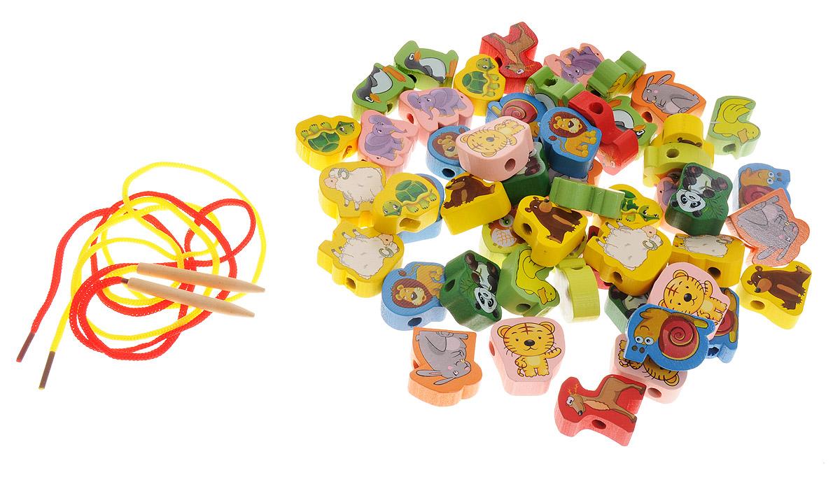 Развивающие деревянные игрушки Шнуровка Животные 52 элемента