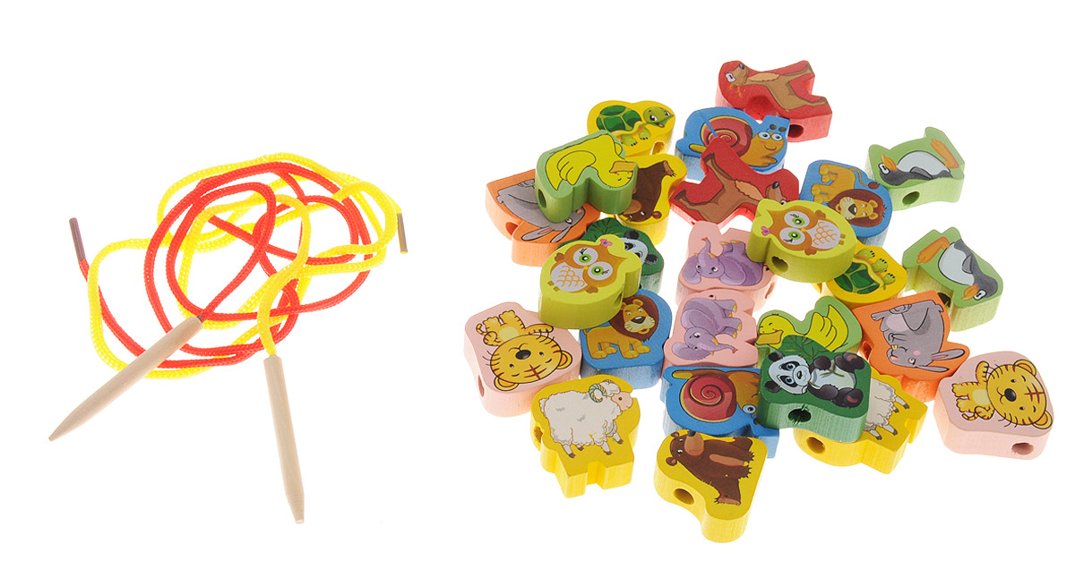 Развивающие деревянные игрушки Шнуровка Животные 26 элементов развивающие деревянные игрушки шнуровка животные 60 элементов