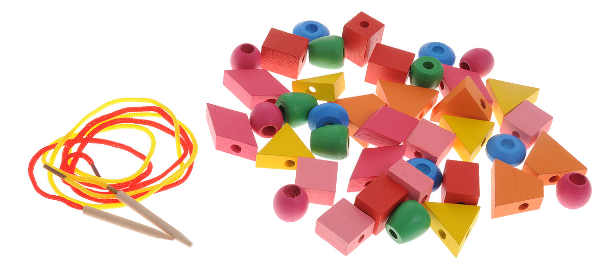 Развивающие деревянные игрушки Шнуровка Геометрические формы 40 элементов