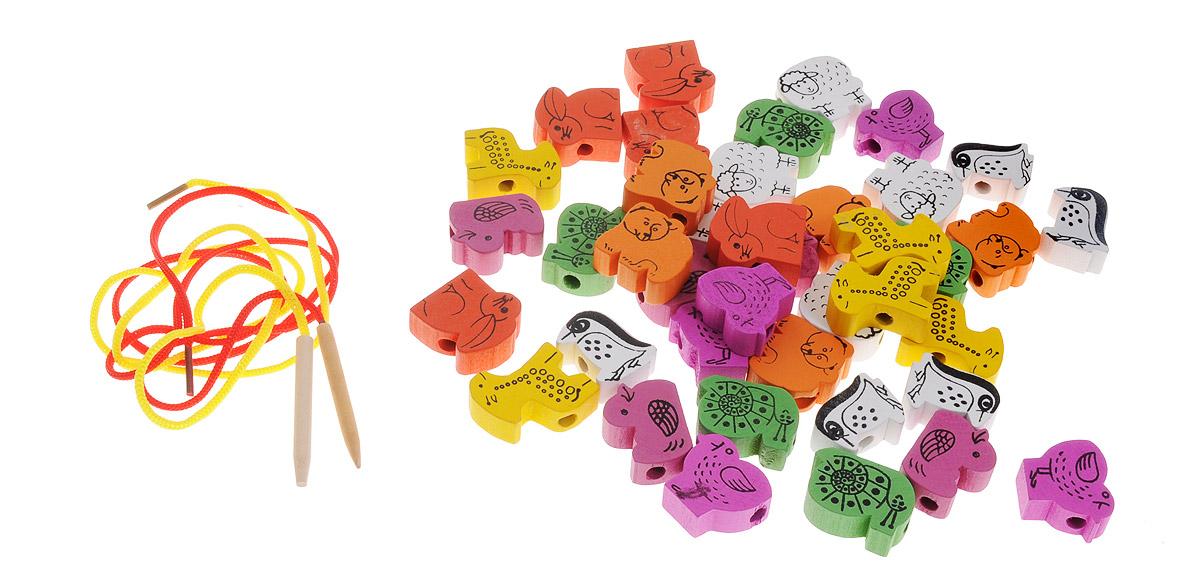 Развивающие деревянные игрушки Шнуровка Животные 40 элементов