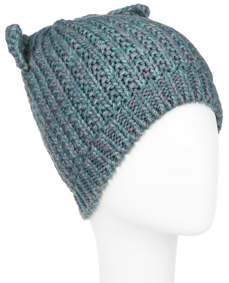 Шапка для девочки Button Blue, цвет: серый, зеленый. 216BBGX73022500. Размер 50, 3-5 лет шапка для девочки button blue цвет голубой 217bbgx73021800 размер 52
