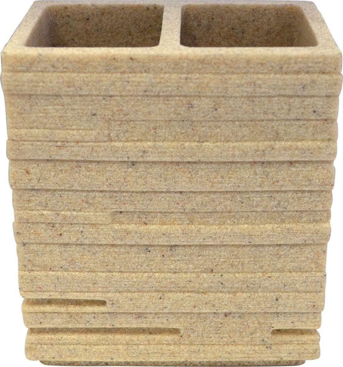 """Стакан для зубных щеток Ridder """"Brick"""" изготовлен из полирезина,  устойчивого к ультрафиолету.  Экологичный полирезин - это твердый многокомпонентный материал на основе  синтетической смолы, с добавлением каменной крошки и красящих пигментов."""