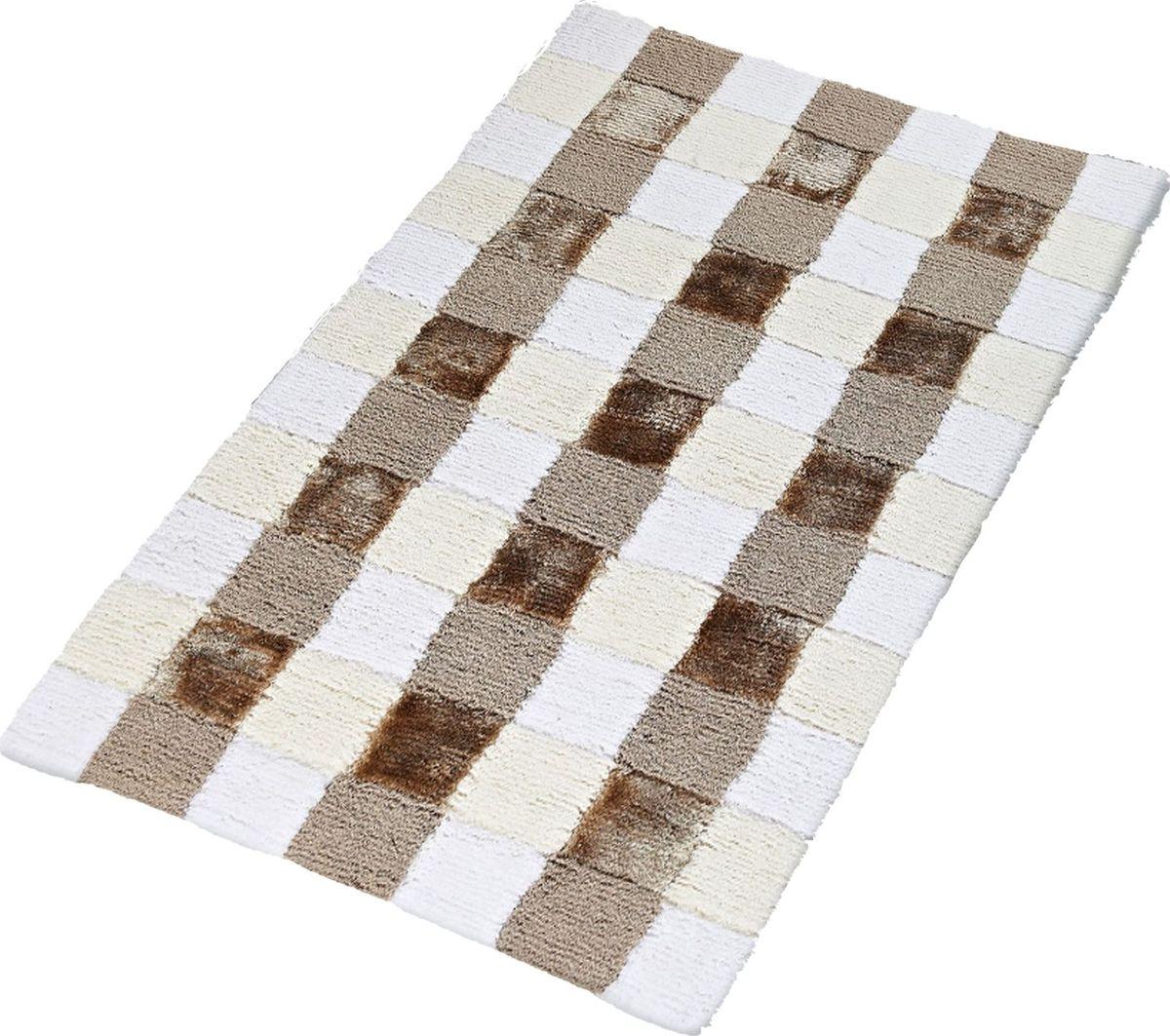 """Коврик для ванной Ridder """"Carre"""", цвет: бежевый, коричневый, 60 х 90 см"""