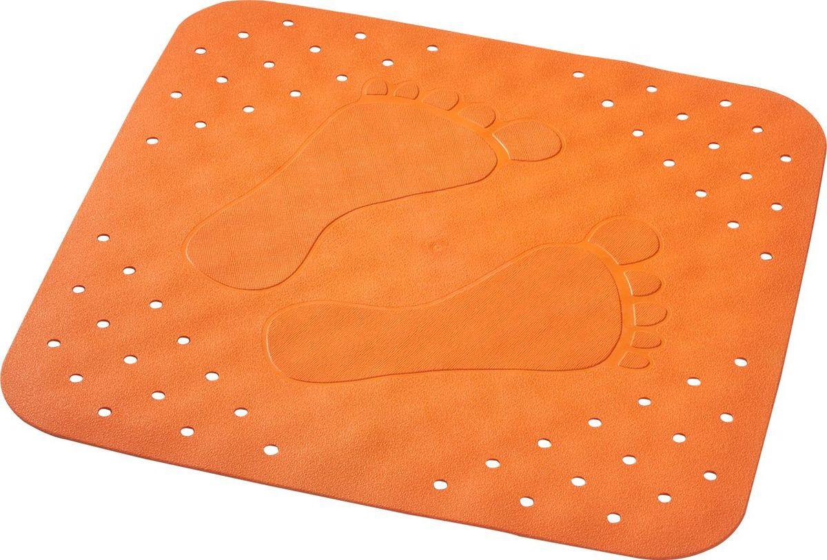 Коврик для ванной Ridder Plattfuss, противоскользящий, на присосках, цвет: оранжевый, 54 х 54 см