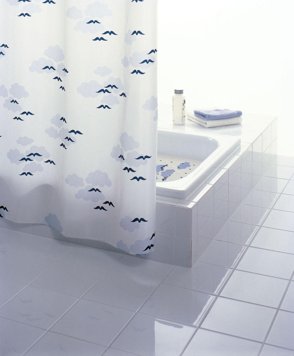 """Штора для ванной комнаты Ridder """"Helgoland"""", изготовленная из текстиля с антигрибковым и антистатическим покрытием, отлично дополнит любой интерьер ванной комнаты. Нижний кант утяжелен каучуковой лентой. Машинная стирка. Глажка при низкой температуре.   Нестандартная длина требует наличие 16 колец."""