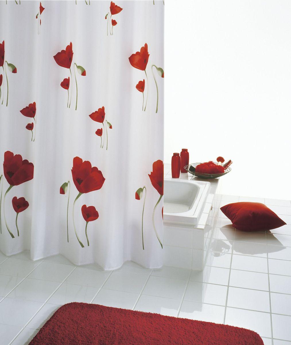 """Высококачественная немецкая шторка Ridder """"Mohn"""" создаст прекрасное  настроение в ванной комнате.  Данное изделие имеет антигрибковое, водоотталкивающее и антистатическое  покрытие и утяжеленный нижний кант. Машинная стирка.  Глажка при низкой температуре."""