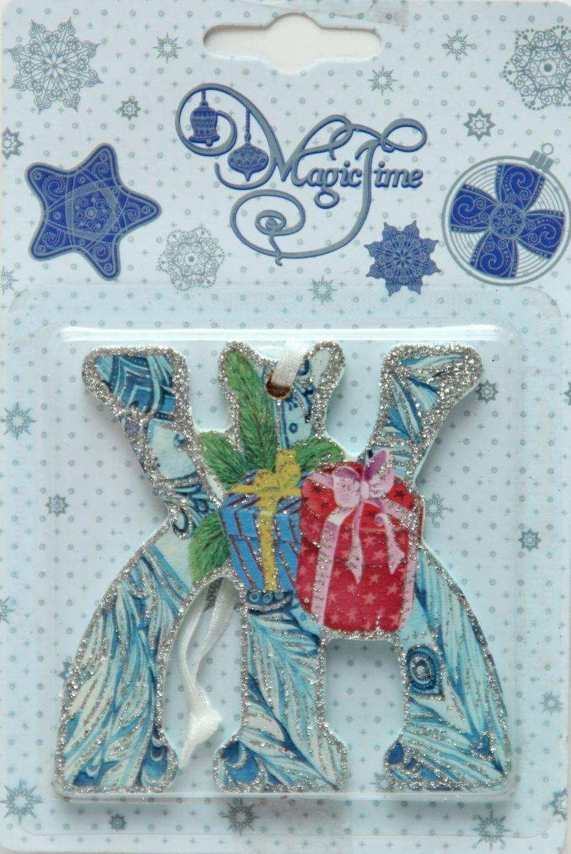 Украшение новогоднее подвесное Magic Time Ж, 8 х 8 см украшение новогоднее magic time дед мороз и медвежонок со светодиодной подсветкой 12 x 8 x 3 см