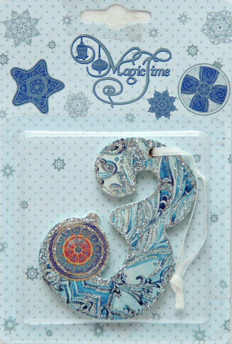 Украшение новогоднее подвесное Magic Time З, 8 х 5,5 см украшение новогоднее magic time дед мороз и медвежонок со светодиодной подсветкой 12 x 8 x 3 см