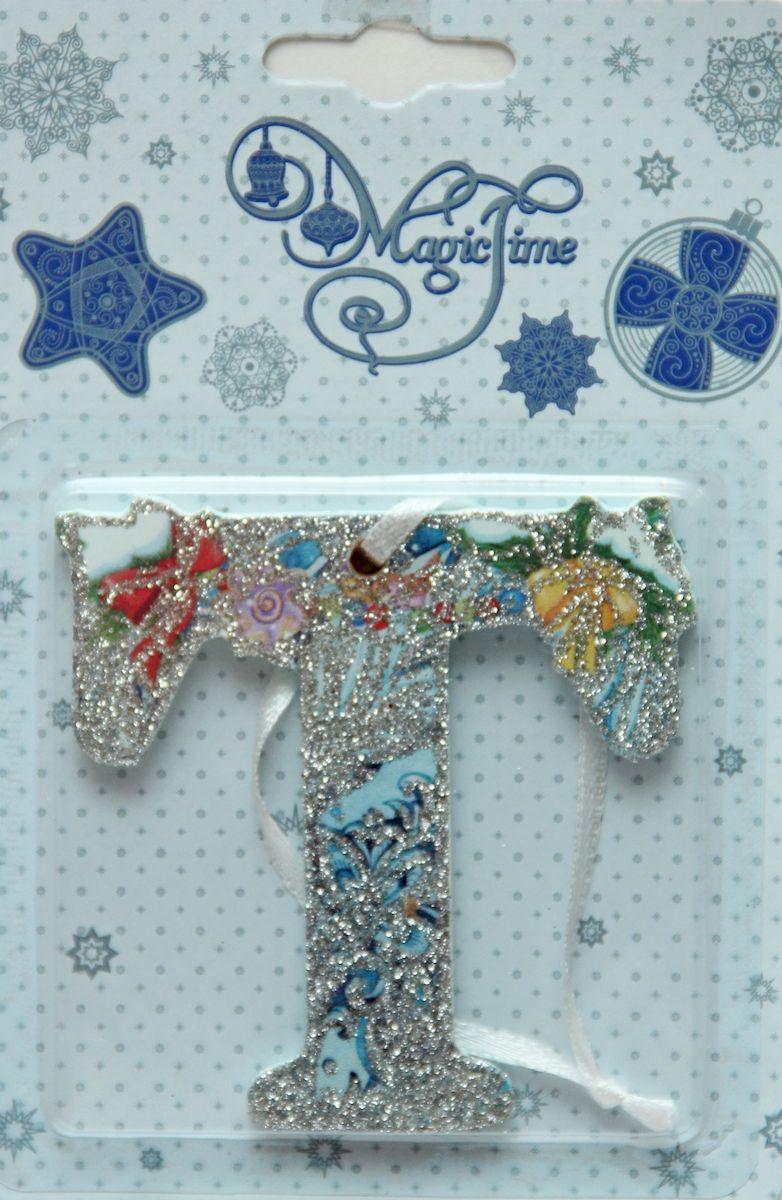 Украшение новогоднее подвесное Magic Time Т, 8 х 8 см украшение новогоднее magic time дед мороз и медвежонок со светодиодной подсветкой 12 x 8 x 3 см