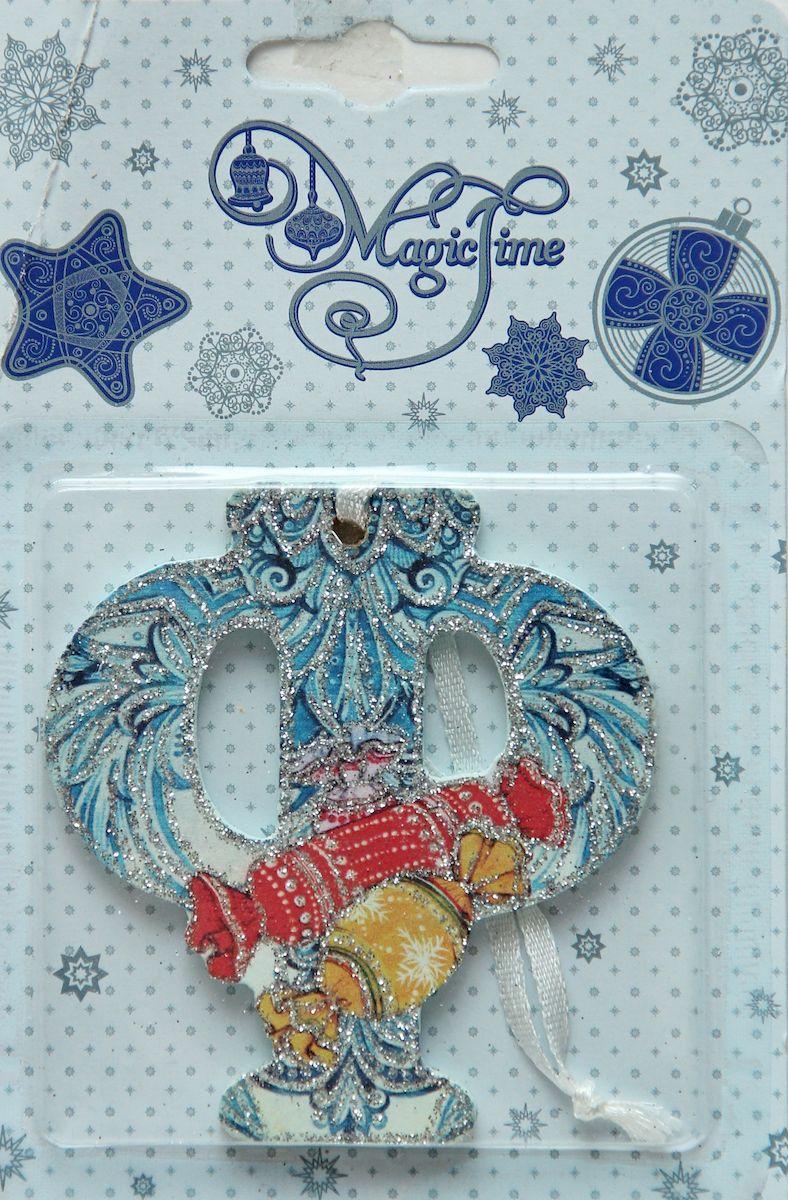 Украшение новогоднее подвесное Magic Time Ф, 8 х 7,5 см украшение новогоднее magic time дед мороз и медвежонок со светодиодной подсветкой 12 x 8 x 3 см