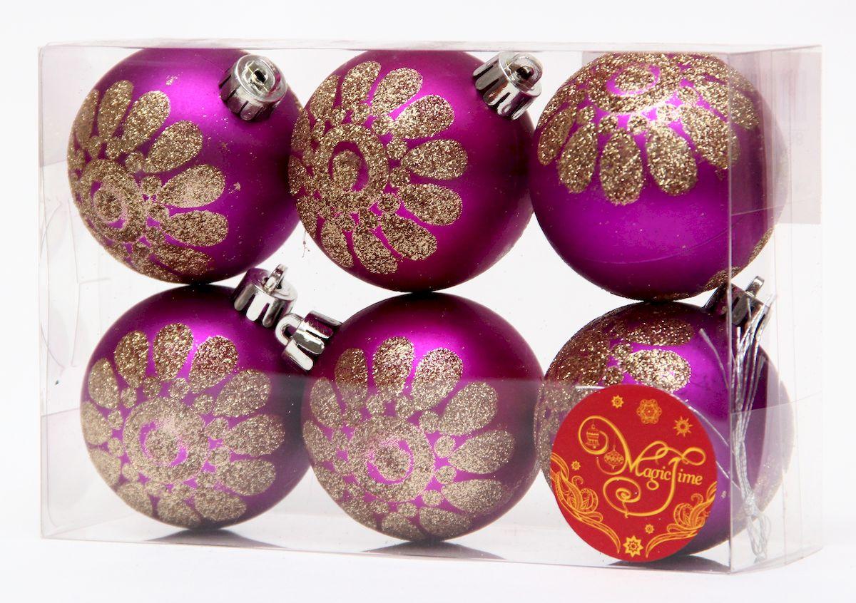 Украшение новогоднее подвесное Magic Time Шар пурпурный с золотым цветком, диаметр 6 см, 6 шт украшение книга сказок magic home украшение книга сказок
