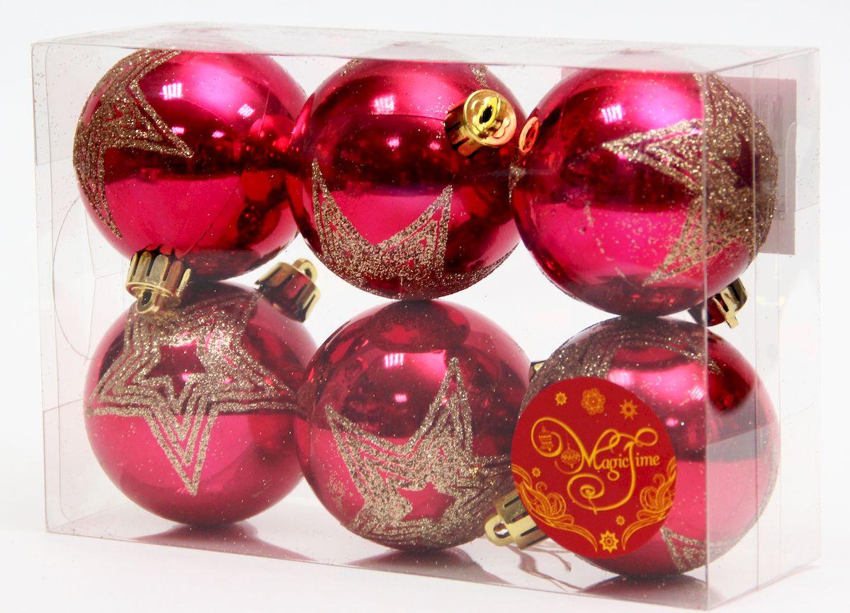 Новогоднее подвесное украшение Magic Time Шар красный блеск с золотой звездой, 6 шт. 41912 елочное украшение magic time набор новогодних шаров золотой с золотым орнаментом magic time 6 см пластик 6 шт