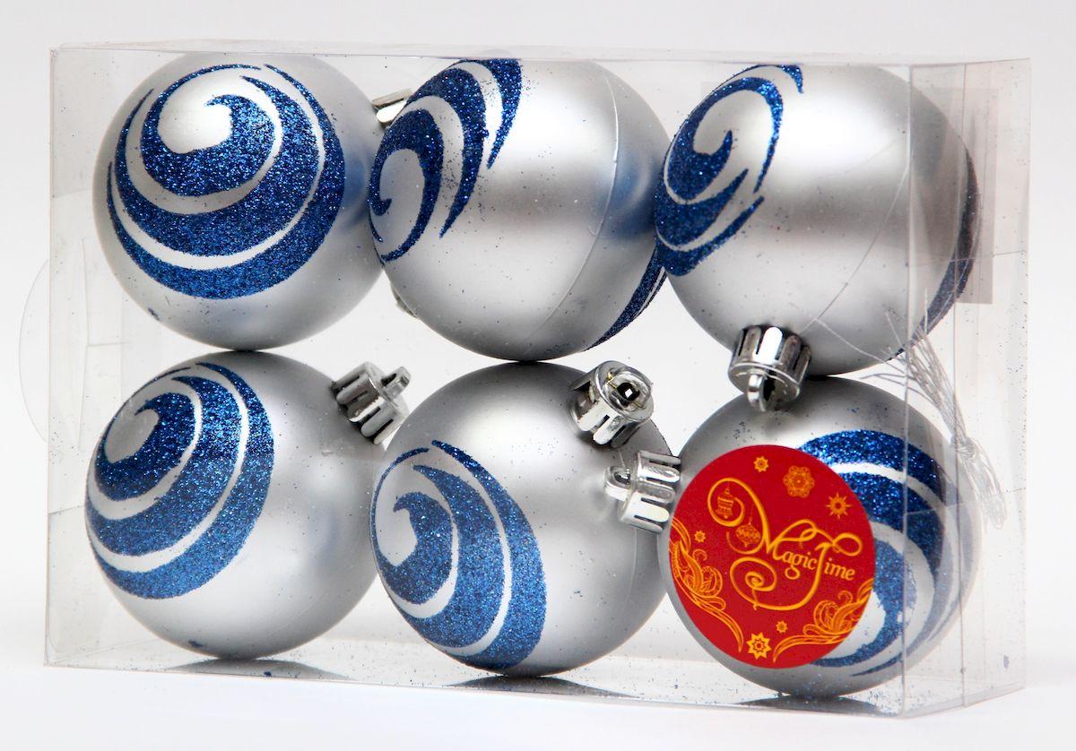 Украшение новогоднее подвесное Magic Time Шар серебряный с синими волнами, диаметр 6 см, 6 шт елочное украшение magic time набор новогодних шаров серебряный с синими волнами magic time 6 см полистирол 6 шт