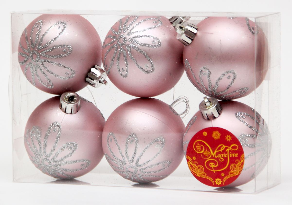 Украшение новогоднее подвесное Magic Time Шар розовый с серебряной ромашкой, диаметр 6 см, 6 шт украшение книга сказок magic home украшение книга сказок