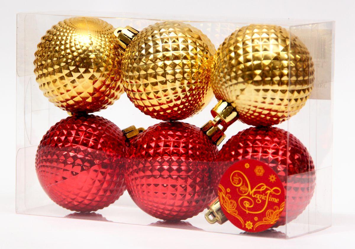 Украшение новогоднее подвесное Magic Time Ассорти шары золотые и красные, диаметр 6 см, 6 шт украшение книга сказок magic home украшение книга сказок