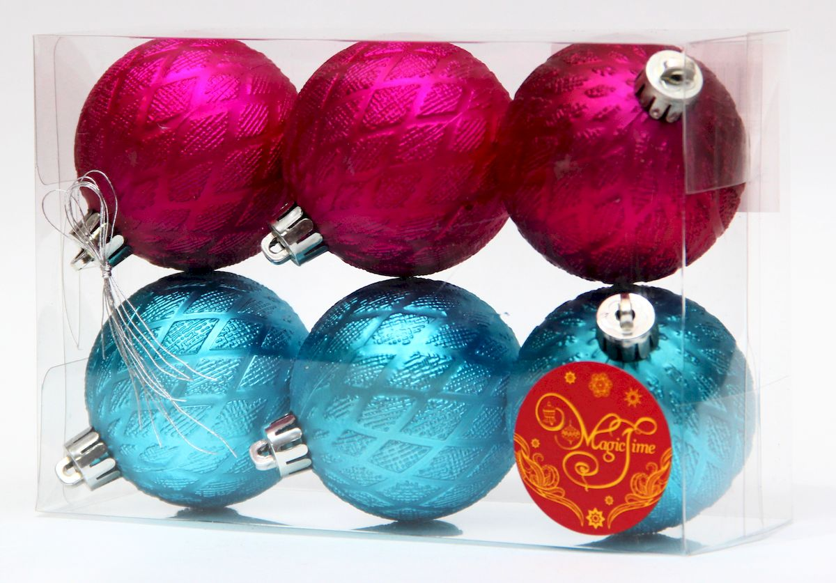 Украшение новогоднее подвесное Magic Time Ассорти шары бирюзовые и розовые, диаметр 6 см, 6 шт украшение новогоднее оконное magic time дед мороз с самоваром двустороннее 30 х 32 см