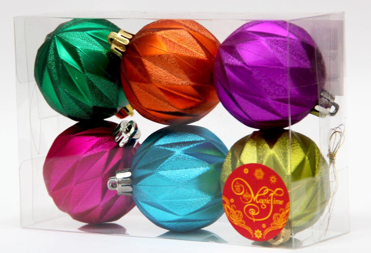 """Новогоднее подвесное украшение Magic Time """"Ассорти шаров радужное настроение"""" прекрасно подойдет для праздничного декора новогодней ели. Изделия выполнены из высококачественного пластика. Для удобного размещения на елке на украшениях предусмотрены ушки и веревочки.  Елочная игрушка - символ Нового года. Она несет в себе волшебство и красоту праздника. Создайте в своем доме атмосферу веселья и радости, украшая новогоднюю елку нарядными игрушками, которые будут из года в год накапливать теплоту воспоминаний. Откройте для себя удивительный мир сказок и грез. Почувствуйте волшебные минуты ожидания праздника, создайте новогоднее настроение вашим дорогим и близким."""