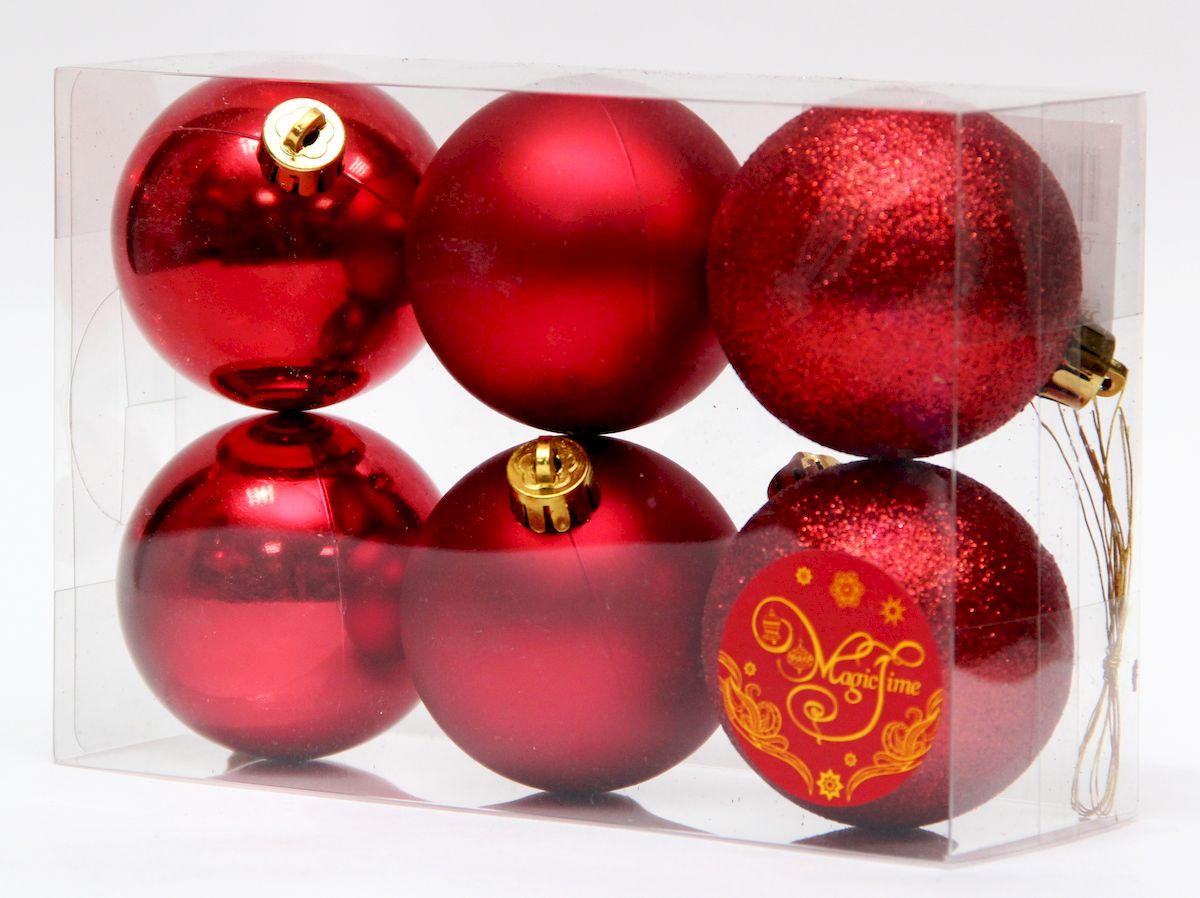 Набор новогодних подвесных украшений Magic Time Ассорти шаров красный блеск, 6 шт елочное украшение magic time набор новогодних шаров бронзовый блеск magic time 6 см полистирол 6 шт