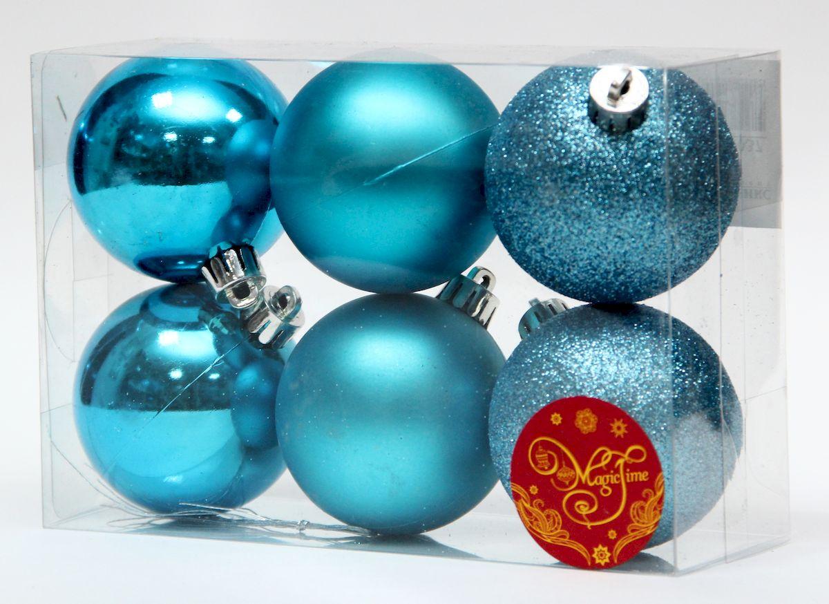 Набор новогодних подвесных украшений Magic Time Ассорти шаров бирюзовый блеск, 6 шт кьеркегор с страх и трепет