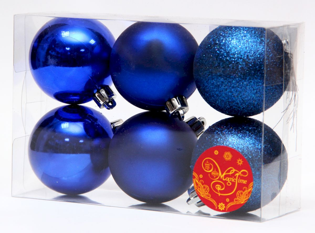 Набор новогодних подвесных украшений Magic Time Ассорти шаров синий блеск, 6 шт елочное украшение magic time набор новогодних шаров золотой с золотым орнаментом magic time 6 см пластик 6 шт