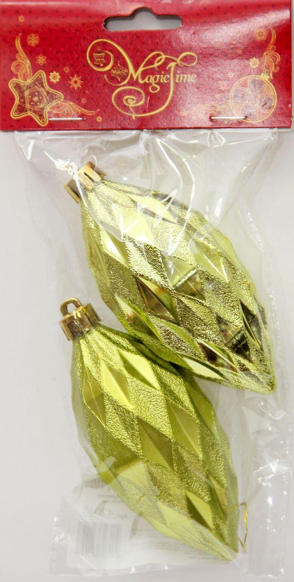 Украшение новогоднее подвесное Magic Time Лимонные еловые шишки, 10 х 5 см, 2 шт