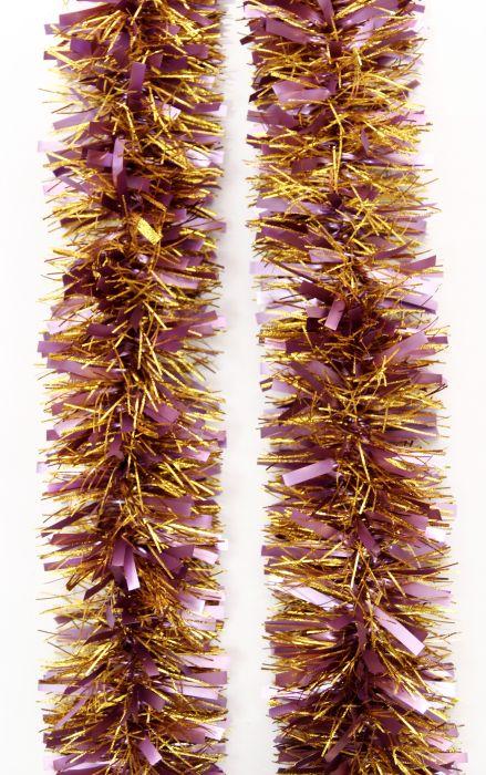 Мишура новогодняя Magic Time, цвет: розовый, золотистый, диаметр 9 см, длина 200 см. 42130 мишура новогодняя eurohouse праздничная цвет сиреневый серебристый диаметр 9 см длина 200 см