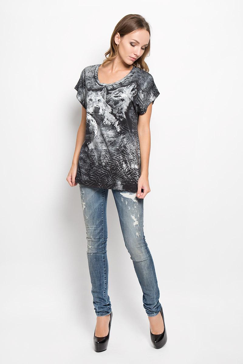 Футболка женская Diesel, цвет: черный, белый, серый. 00STU8-0QAML. Размер XL (50) футболка женская diesel цвет темно серый 00ssun 0wady размер xl 50