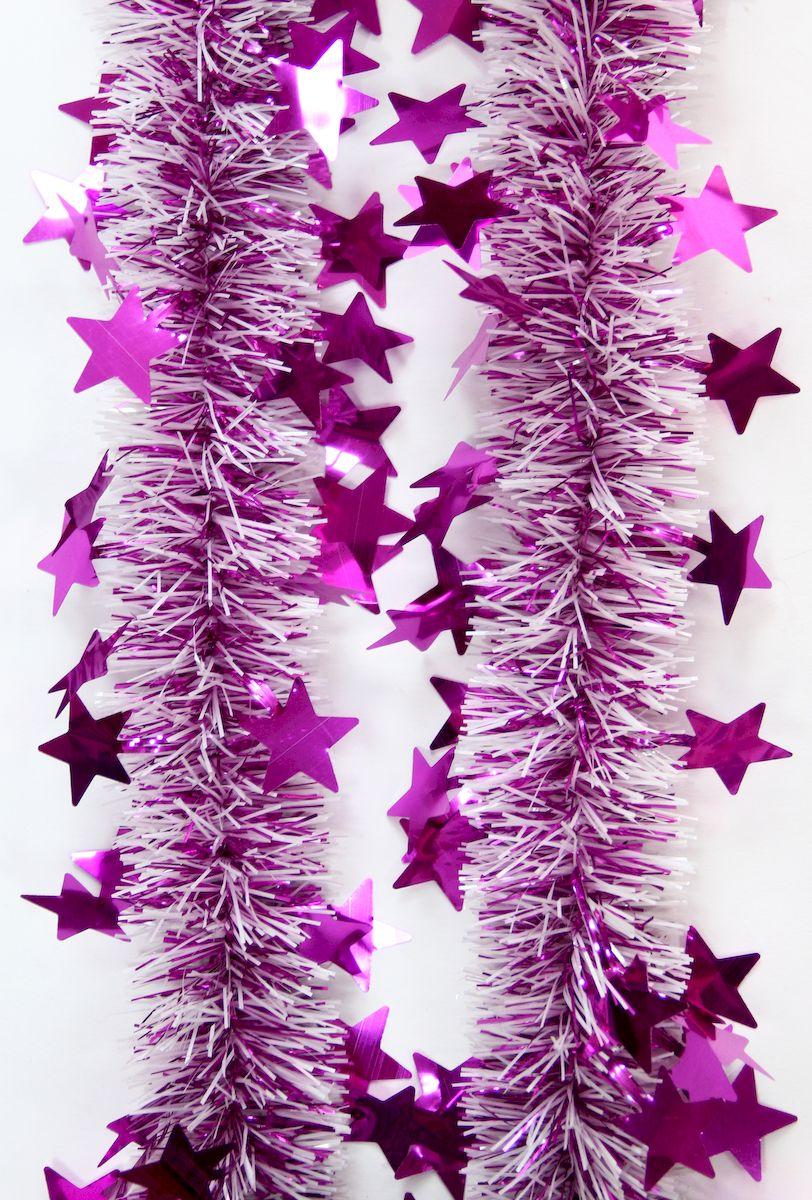 Мишура новогодняя Magic Time, цвет: белый, розовый, диаметр 6 см, длина 200 см. 42141 мишура новогодняя eurohouse праздничная цвет сиреневый серебристый диаметр 9 см длина 200 см