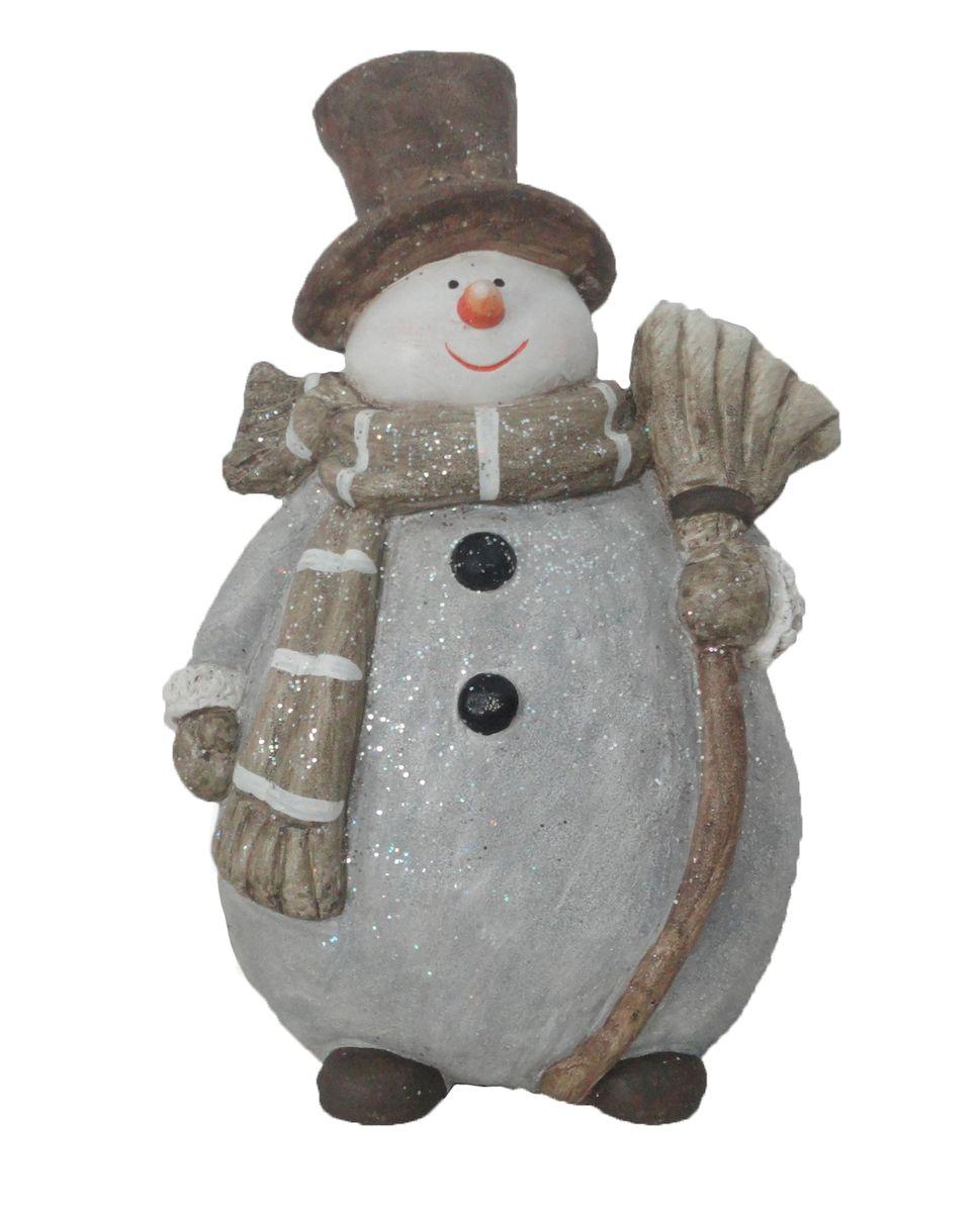 Фигурка новогодняя Magic Time Снеговик с метлой, 22,5 x 16 x 36 см. 42211 фигурки magic time фигурка снеговика снеговик почтальон
