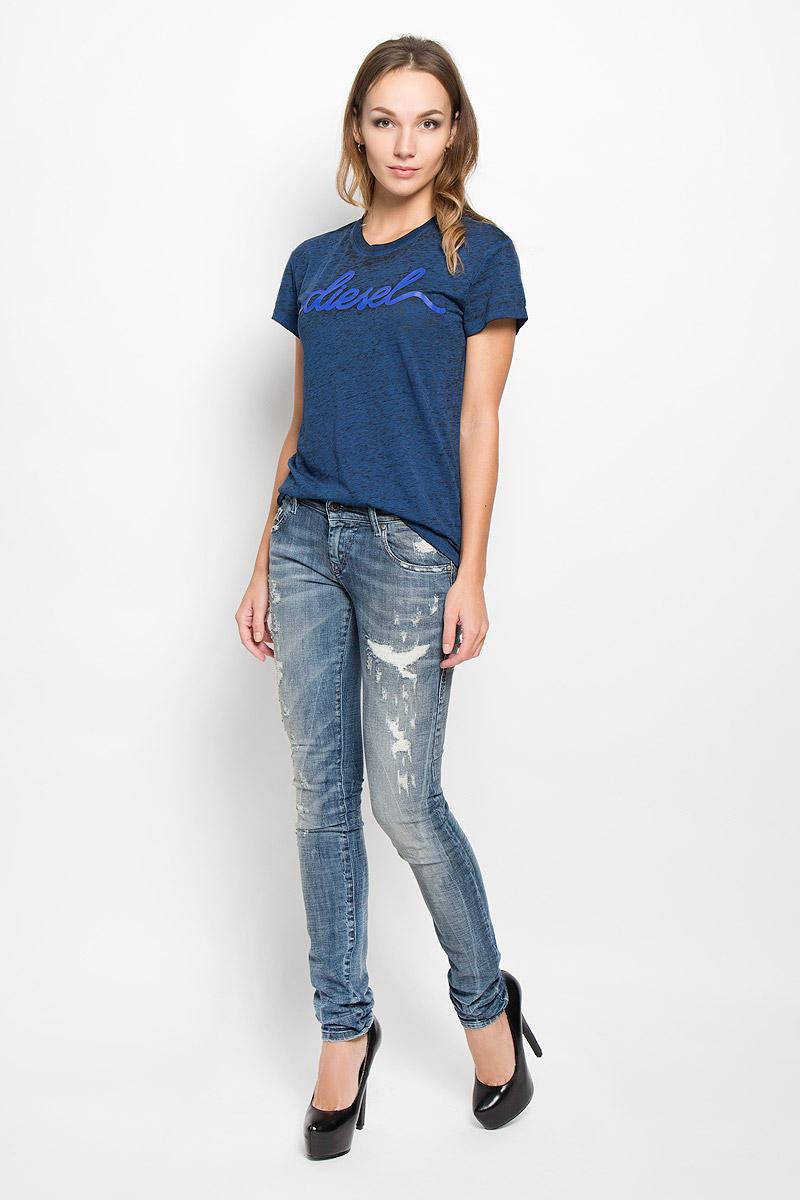 Футболка женская Diesel, цвет: темно-синий. 00STU6-0HAKX. Размер XL (50) брюки для дома мужские diesel цвет синий 00sj3i 0damk 05 размер xl 50