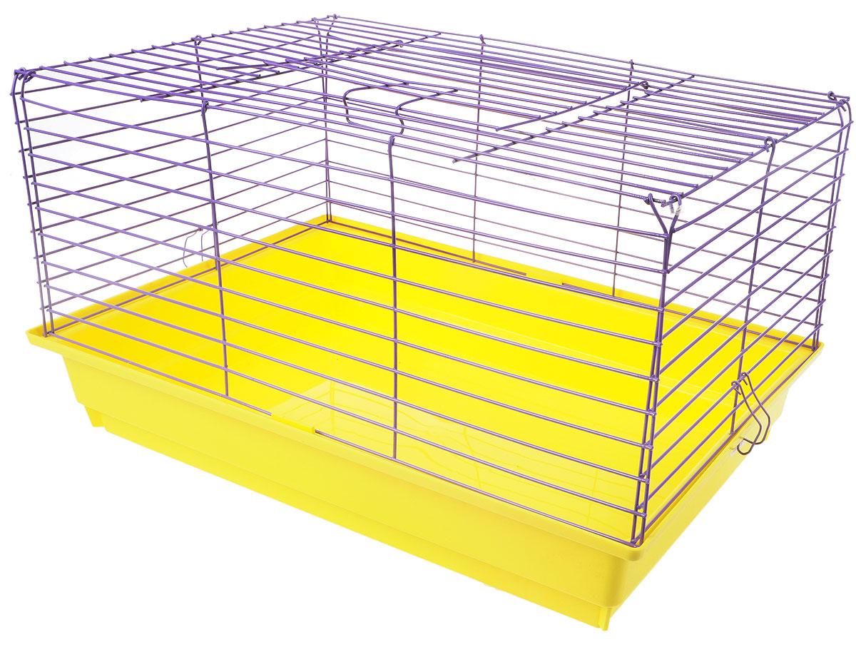 Клетка для кролика  ЗооМарк , цвет: желтый поддон, фиолетовая решетка, 60 х 40 х 35 см - Клетки, вольеры, будки