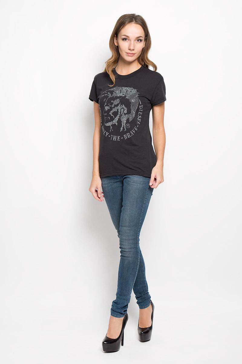 Футболка женская Diesel, цвет: черный. 00SRTX-0QAML. Размер XL (50) футболка женская diesel цвет темно серый 00ssun 0wady размер xl 50