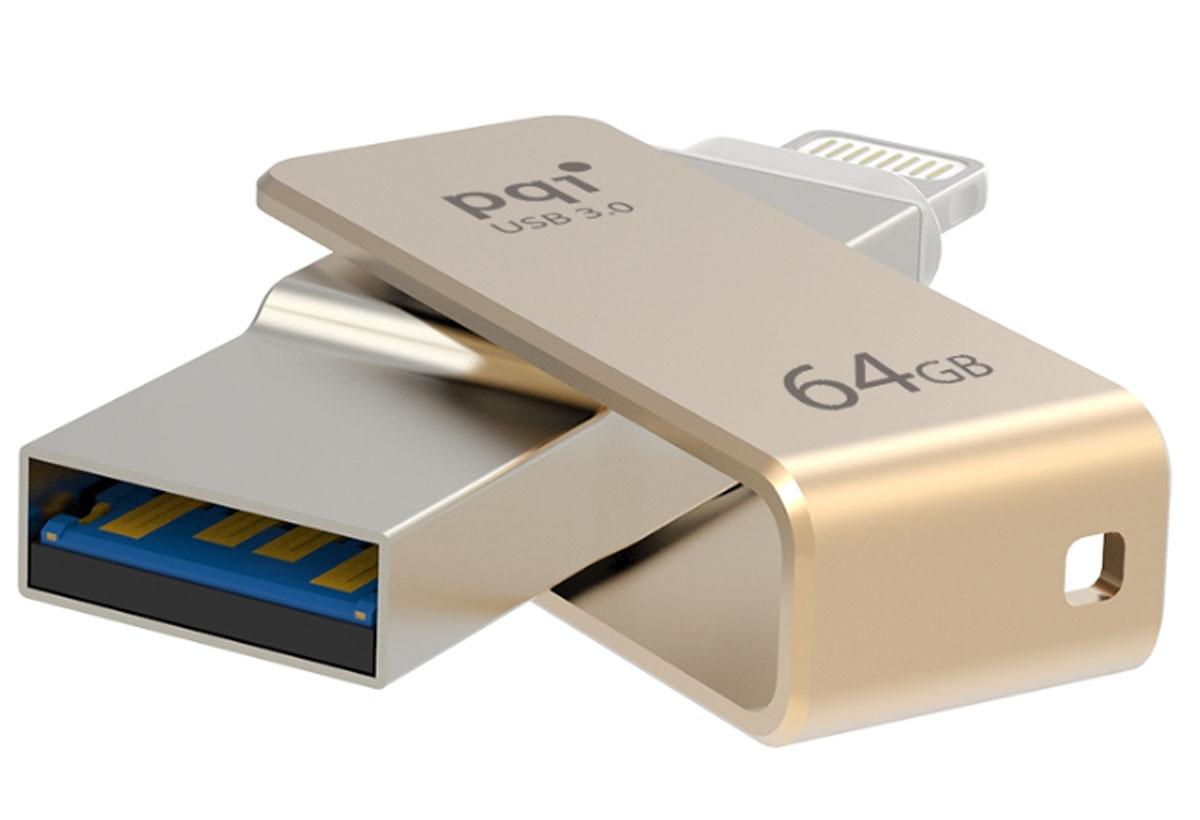 PQI iConnect mini 64GB, Gold флеш-накопитель - Носители информации